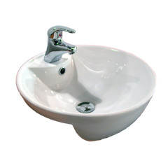 Happy Fish Semi Recessed Basin White BG