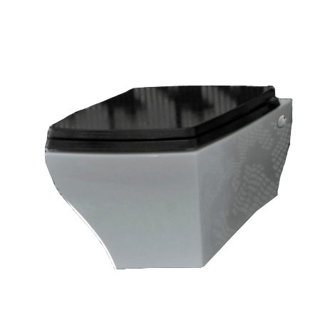Jazz Wall Hung Pan White with Black Seat