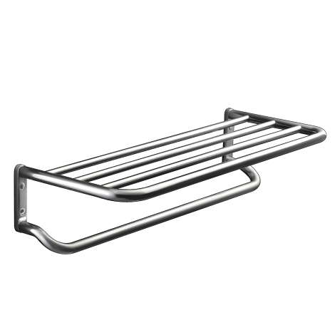 towel rack hotel style brushed nickel finish shelf with hooks