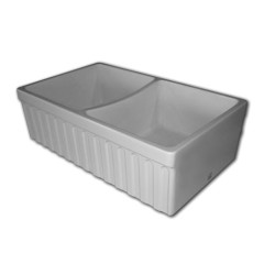 SMQ332 Butler Double Bowl Sink Ribbed