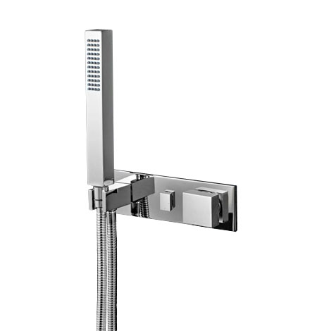QQ.04 D2Q A_Quadro Wall Mixer 2 Way Diverter With Hand Shower Rectangular