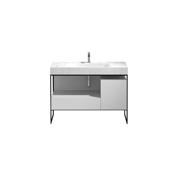 PF-120-MW_Pure Frame 1200 Floor Mounted Cabinet and Solid Marble Wash Basin_CWEB