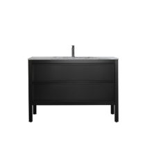 AR-1200-MB_Arrivo 1200 Matt Black Floor Cabinet and Wash Basin